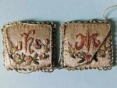 Pair Of Small Early 19Th Century Embroidered Silk Squares, Dolls House Kneelers?