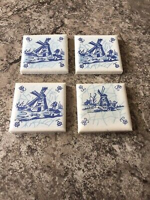 4 Blue White Pottery Tile Handpainted Dutch Windmill Miniature Holland Delft ?