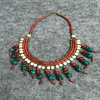 Antique Ethnic Nepal Necklace Handmade Turquoise Tibetan Chain Luxury Coral