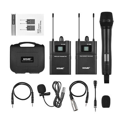 UHF Wireless DSLR Camera Handheld + Lavalier Microphone for Camcorder Interview