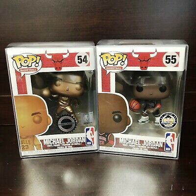 "Funko Pop Basketball : Bulls : Michael Jordan Bronze  #54 #55 Set of 2 ""MINT"""