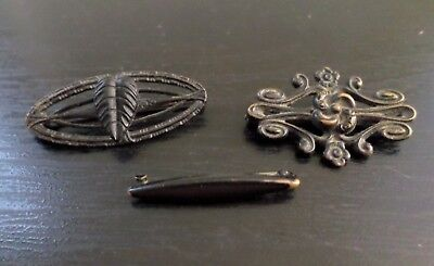 "Antique Vintage Lot of Three Black Color, Metallic, ""C"" Clasps Mourning Small Br"