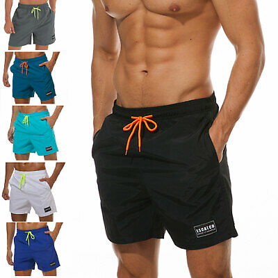 Mens Swim Trunks Board Shorts Pockets Beach Swimwear Swimsuits Mesh Lining Solid