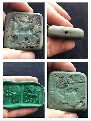 Wonderfull Very Old Jade Stone King Hunting Postion Double Side Intaglio Bead