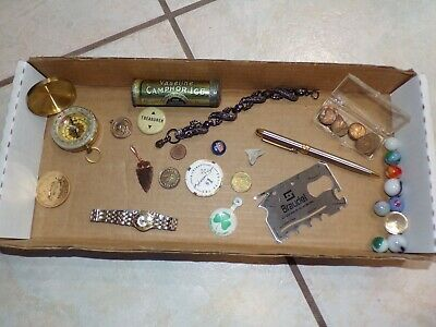 Vtg Junk Drawer Collectibles Smalls Tokens Coins Medals Pin Compass Box Lot 7