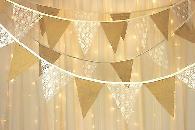 Hessian bunting ivory lace - PYO length from 1m - with gaps  - weddings - rustic
