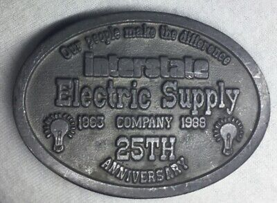 Interstate Electric Supply Comp.Vintage Belt Buckle 25th anniversary 1963-1988
