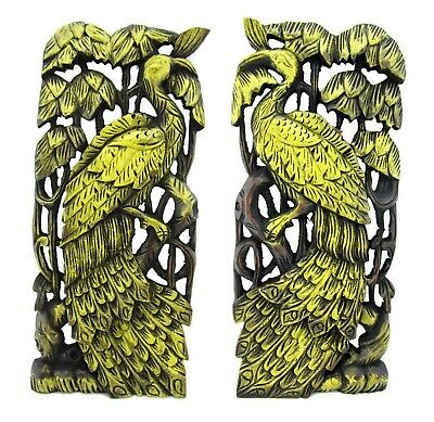 """Hand Carved Wooden Peacock Thai Wood Carving Wall Plaque Teak 18"""" Gold Pair Set"""