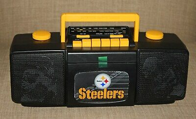 Vintage  NFL AM FM Stereo Radio  Cassette Recorder Pittsburgh Steelers New
