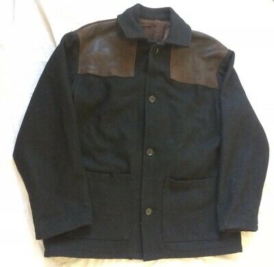 Vtg Mens Donkey Jacket Leather Shoulder Yolk Workwear Chore