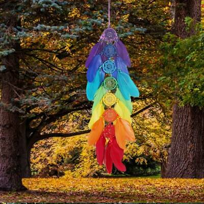 Colorful Rainbow Chakra Beads Feather Dream Catcher Wall Hanging Decor Ornament