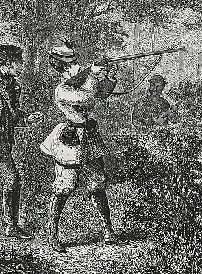 FIREARMS Woman Pheasant Hunting Lady Shooting Rifle, Large 1870s Antique Print