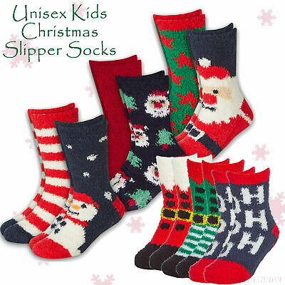Unisex Kids Boys Girls Christmas Socks 4 Pairs Non Skid Anti Slip Grips Cosy