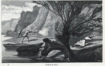 Firearms Accident Hunter Shoot Kills Man 1870s Antique Engraving Print & Article