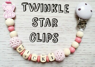 Personalised Wooden Dummy Clip Elephant Crochet Beads Baby Gift Idea Pink Rose ❤