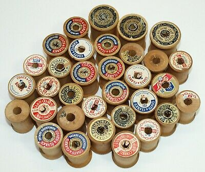 Vintage Lot A 33 EMPTY WOOD Mostly Small SPOOLS J&P Coats & Clark's More
