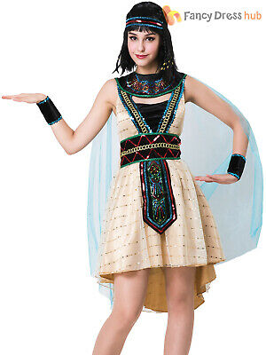 Ladies Egyptian Queen Costume Adults Cleopatra Ancient Fancy Dress Womens Outfit