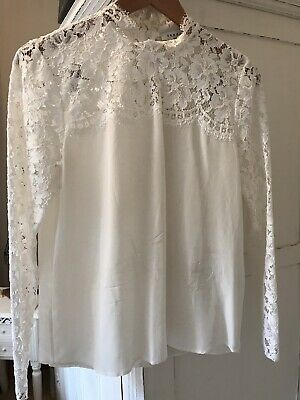 45f1def0552402 Sandro Paris 100% linen summer long sleeve Top with lace back in white size  2 10.