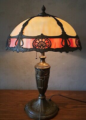 ANTIQUE SLAG GLASS LAMP Tiffany Leaded Stained MILLER HANDEL HUBBARD ART NOUVEAU