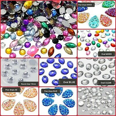 All Size & Shape/ Sew On Flatback Rhinestones/ Crystals Stones/ Gem Stones UK #1