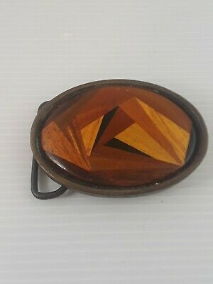 1952 Bts Wood Inlay Solid Brass Belt Buckle