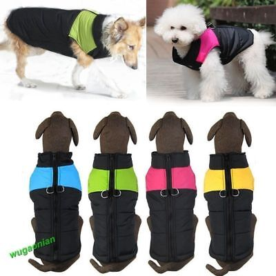 Pet Dog Cotton Padded Vest Coat Jacket Winter Apparel Warm Clothes Waterproof UK