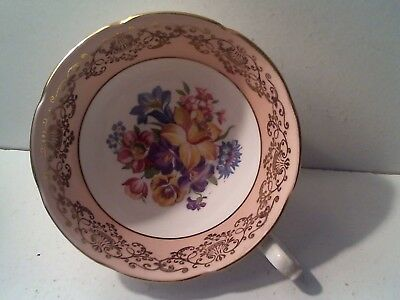 Vintage Duchess Bone China Coffee Tea Cup - Gold Trim - Flowers Floral - Pink