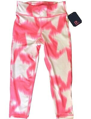 NEW GAP Fit GapFit Girls Sport Capri Cropped Leggings Athletic Pink White L 10