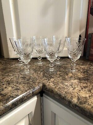 6 Crystal Wine / Water Goblets / Glasses Pinwheel Pattern- Gloria Reiner Trading