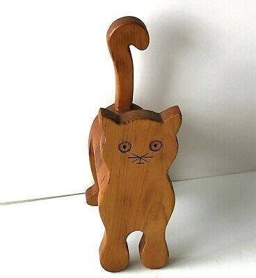 Vintage Wooden Kitty Cat Animal Bank Made by Hand Polished Woodgrain ~3x10x5 1/4