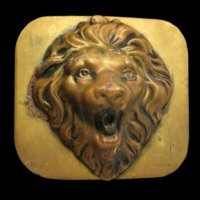 Vtg Fierce Lion Big Cat Animal Door Knocker Biker Hippie Art Brass Belt Buckle