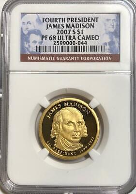 2007-S Proof James Madison Dollar Coin $1 4th President NGC PF68 Ultra Cameo