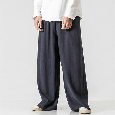 Chinese Tang Suit Men's Linen Cotton Pants Loose Kung Fu Tai Chi Trousers Chic