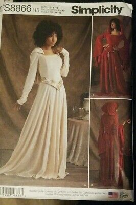 SIMPLICITY SEWING PATTERN 8866 Medieval Hooded Knit Dress