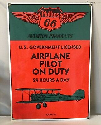 Phillips 66 embossed metal Airplane Pilot on Duty sign Andy Rooney Retro