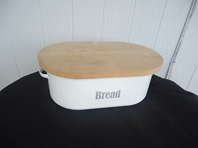 vintage kitchen metal enamel bread bin wooden bread cutting board typhoon