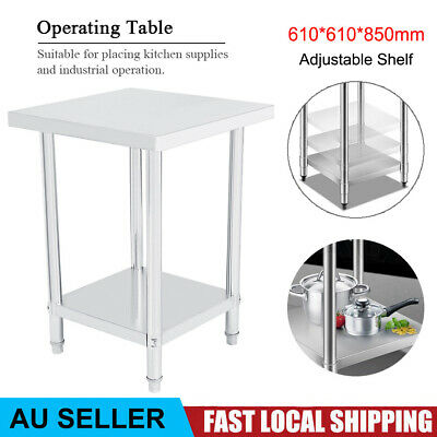 610*610mm Stainless Steel Work Bench Table Food Prep Catering Kitchen Restaurant