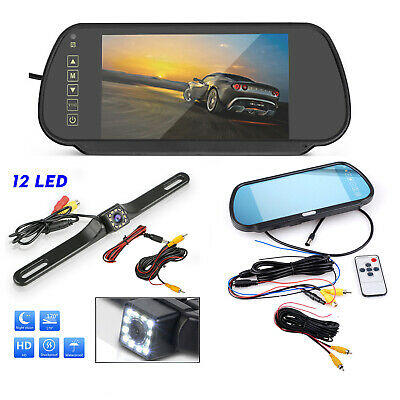 """Car Rear View System 7"""" HD Mirror Monitor+LED Nightvision License Wired Camera"""