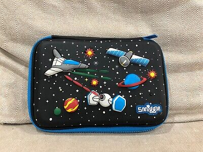 Smiggle Outer Space Hard  pencil Case with Zip Star Space Ship Black Blue [M1]