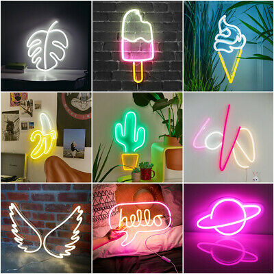 LED Neon Light & USB Switch Banana Cactus Wings Kids Home Decor Party Wall Lamps