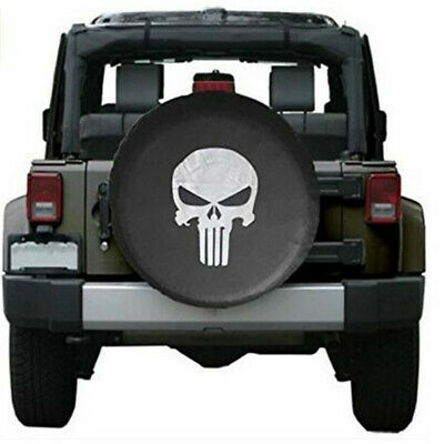 Punisher Skull Spare Tyre Tire Cover Off Road 4x4 Jeep Wrangler Defender 15''