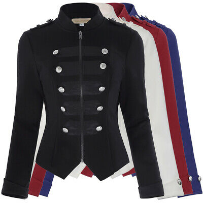 Women Black Blazer Military Jacket Army Gothic Stand Collar Trench Steampunk Top