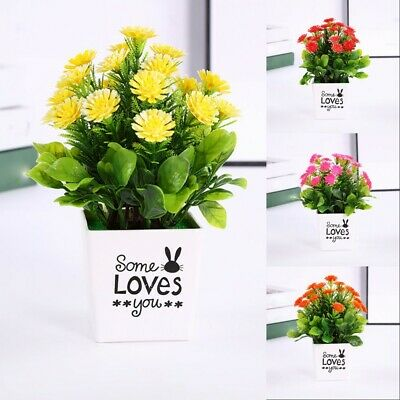 Artificial Chrysanthemum Fake Flowers Potted Plant Home Garden Party Decoration