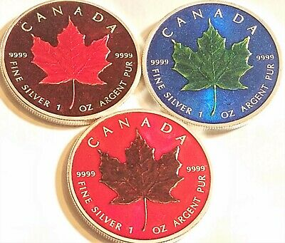 (Lot Of 3)  Random Year-  1 oz Canadian Maple Leaf  Colorized Coins .999 Silver