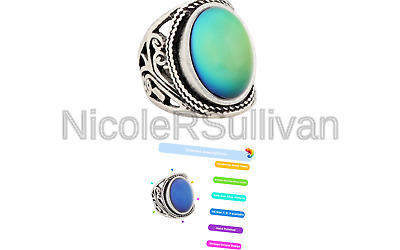 MOJO JEWELRY Mood Ring Changing Color for Adults Antique Sterling Silver Vint...