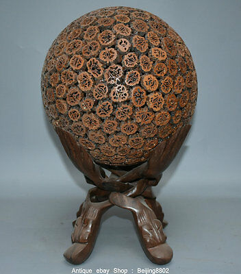 "17"" Rare Old Chinese Redwood Carving Flower Ball Hollow Hand Shelf Decoration"