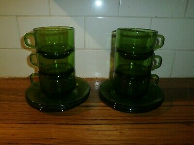 (B) Set Of 6 Green Durax Cups & Saucers ~ France ~ Vintage Retro