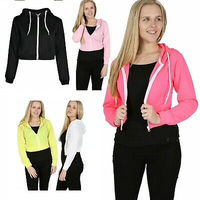 New Womens Girls Zip Up Crop Hooded Hoodie Plain Jacket Sweatshirt Jumper Top