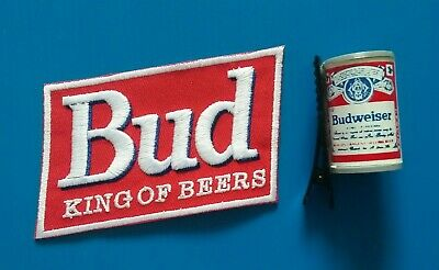 2 BUDWEISER BUD BEER KING OF BEERS  Iron Or Sewn On Patch/Hairclip Free Ship