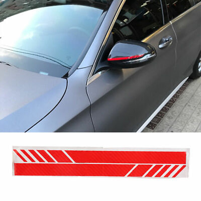 2Pcs 5D Carbon Fiber Cool Car Accessories Rearview Mirror Racing Stripes Sticker